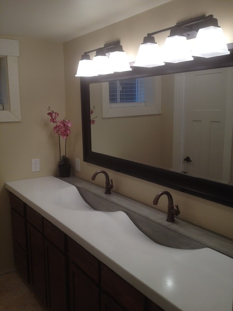 Vanity Side Splash : Grey and white double sink contemporary vanity tops