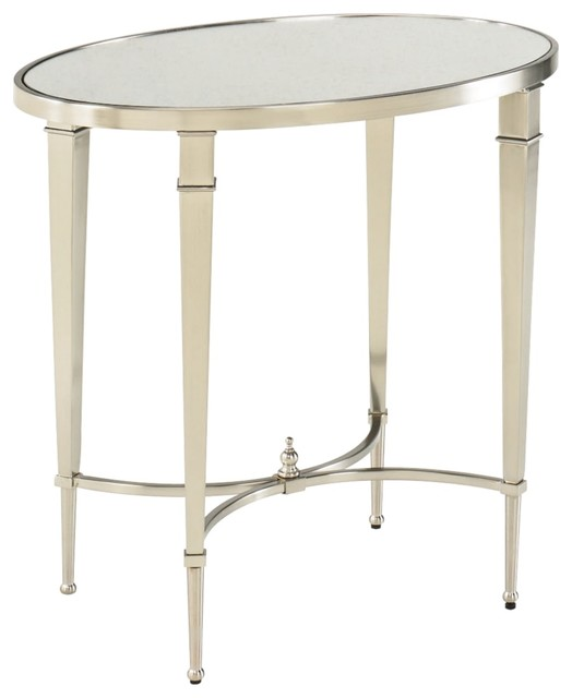 Hammary Mallory Oval Glass and Nickel End Table farmhouse dining tables