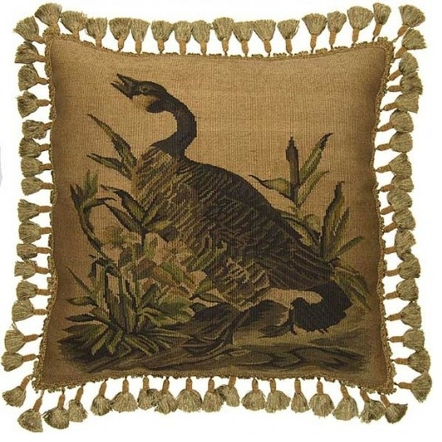 Traditional Throw Pillows : New Aubusson Throw Pillow Country Goose - Traditional - Decorative Pillows