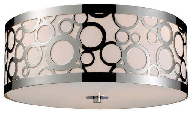 Retrovia Modern Three-Light Metal & Opal Glass Flush Mount Ceiling ...
