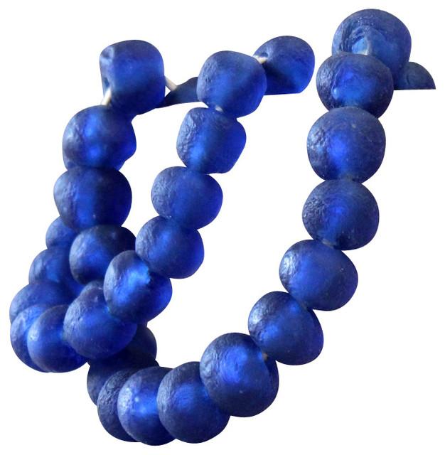 Medium Cobalt Blue Sea Glass Beads Transitional Home