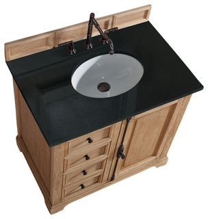 Providence 36 Natural Oak Single Vanity With Absolute Black Polished St