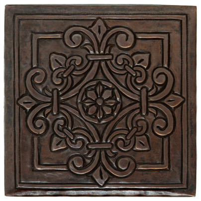Square Fleur Medallion Design Copper Tile Traditional