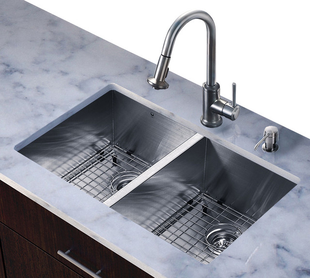 ... in. Double Bowl Kitchen Sink and Faucet Set contemporary-kitchen-sinks