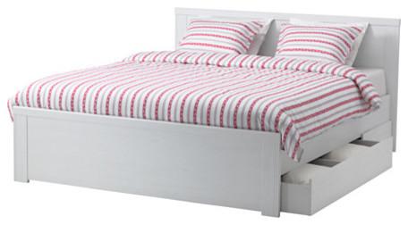 Brusali bed frame with 4 storage boxes contemporary platform beds by ikea uk - Platform bed frame australia ...