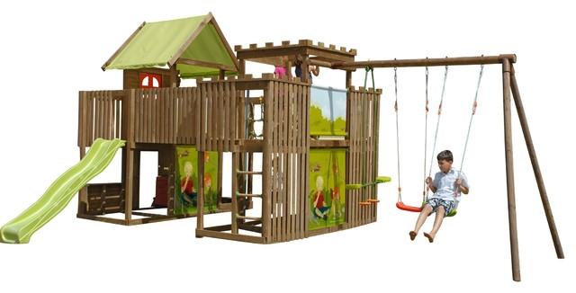 aire de jeux en pin 2 tours 1 passerelle 1 toboggan et 3 balan oires contemporain. Black Bedroom Furniture Sets. Home Design Ideas