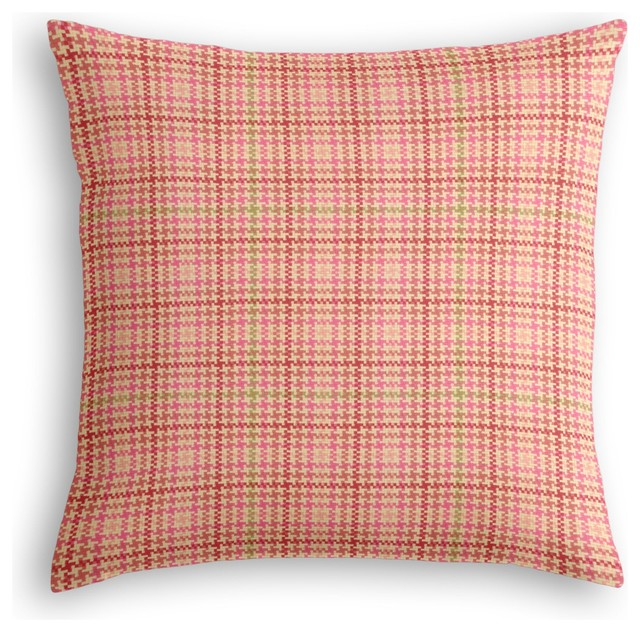 Custom Design Throw Pillows : Pink Houndstooth Custom Throw Pillow - Contemporary - Decorative Pillows - by Loom Decor