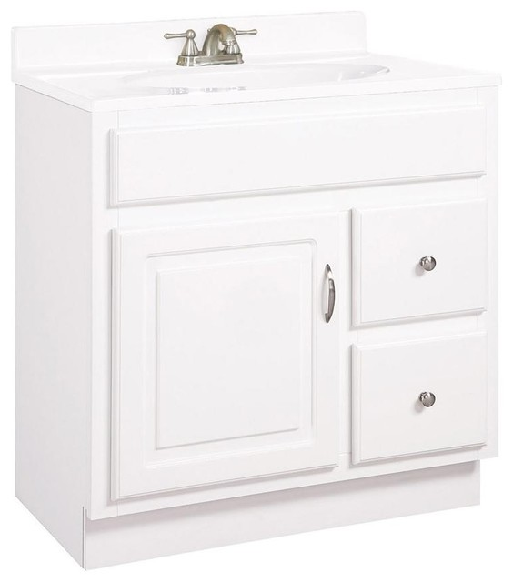Small Bathroom Vanity Drawers : Concord drawer vanity in white small contemporary