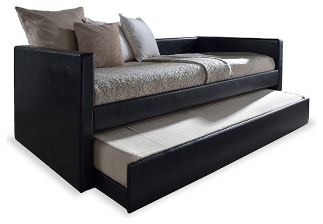 risom faux leather upholstered twin size daybed bed frame with trundle black contemporary. Black Bedroom Furniture Sets. Home Design Ideas