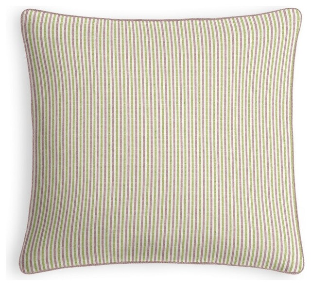 Purple Green Throw Pillow : Green and Purple Pinstripe Throw Pillow - Traditional - Decorative Pillows - by Loom Decor