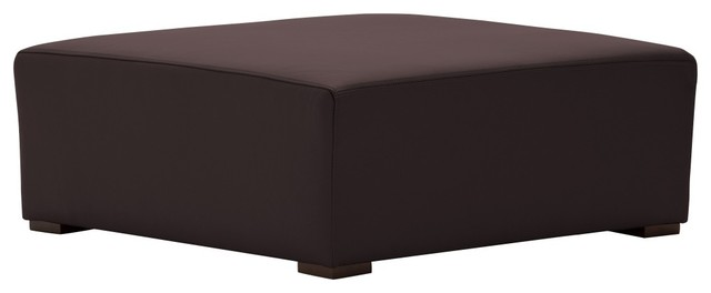 Ottomane seed semianilinleder braun moderne repose for Pouf repose pieds salon