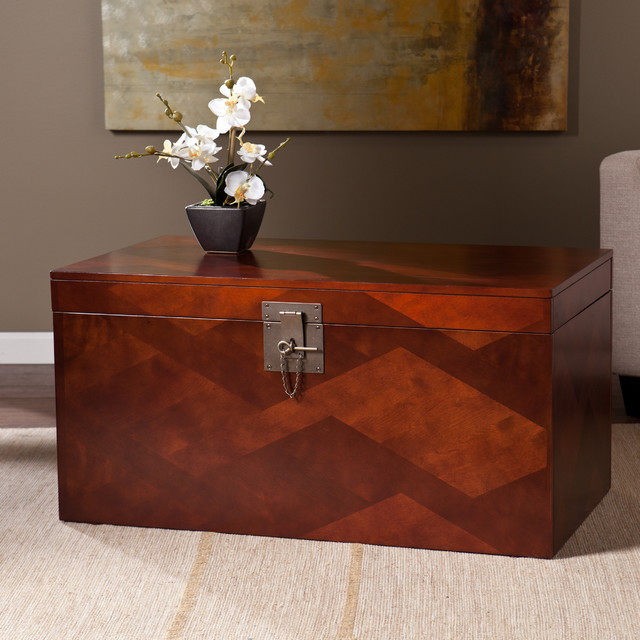 Upton home tifton cherry coffee and cocktail trunk table for Overstock trunk coffee table