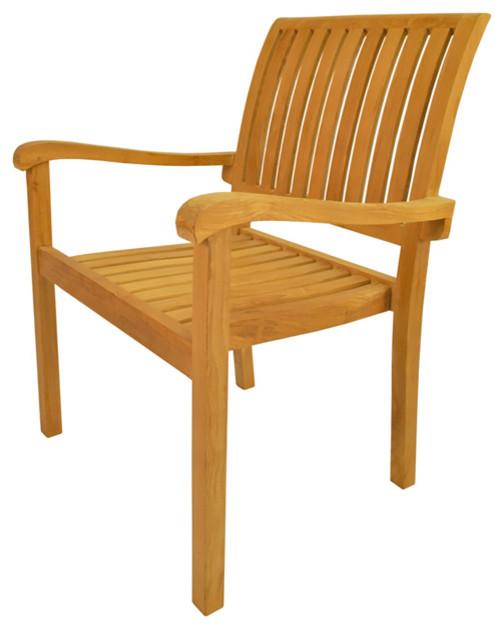 Anderson Teak Patio Lawn Garden Furniture Aspen Stackable Armchair Contemporary Outdoor
