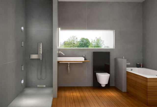 stone and wood accents geberit master bath modern bathroom