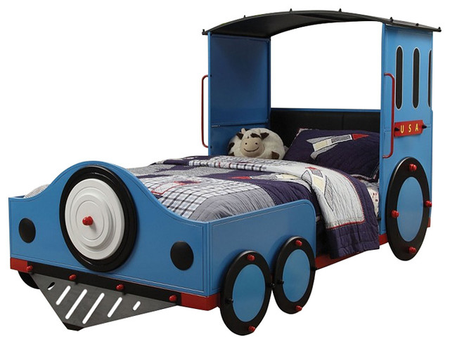 Acme Furniture Tobi The Engine Blue Red And Black Finish Twin Size Bed