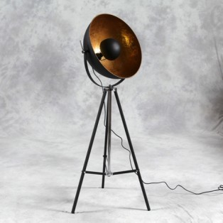 Black gold spotlight tripod floor lamp industrial for Black tripod spotlight floor lamp gold inner