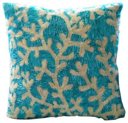 Aqua Ornate Decorative Blue Silk Throw Pillow Cover, 12x12 - Tropical - Decorative Pillows - by ...