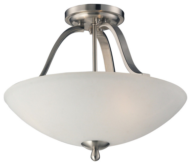 Mayfield 3 Light Semi Flush In Brushed Nickel Contemporary Flush Mount Ce