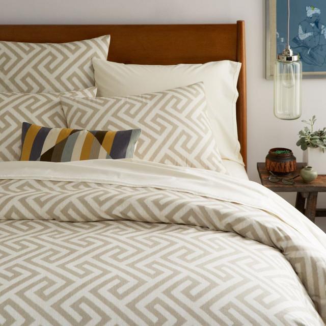 Organic Ikat Key Duvet Cover + Pillowcases - Flax - Modern ...
