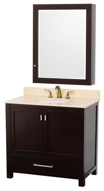Abingdon Espresso With Medicine Cabinet Mirror And Undermount Porcelain Sink Transitional