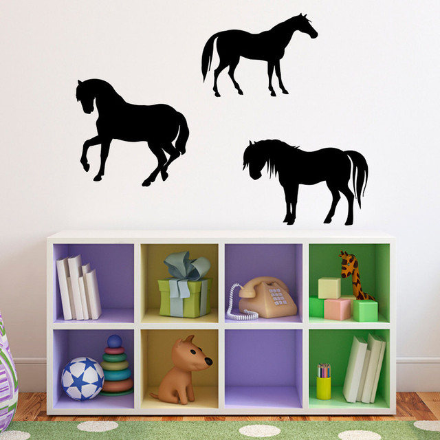 horses wall decal set of 3 horse matte black modern kinderzimmer wanddeko von stephen. Black Bedroom Furniture Sets. Home Design Ideas