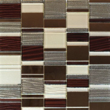 Bestview Glass Mosaic Block Stack Brown Patch 201602 modern-tile