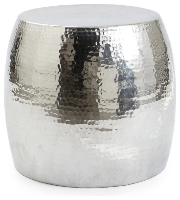 dixon hammered garden stool silver modern accent and