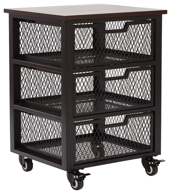 Garret black 3 drawer rolling cart with espresso wood top for Coffee carts for office