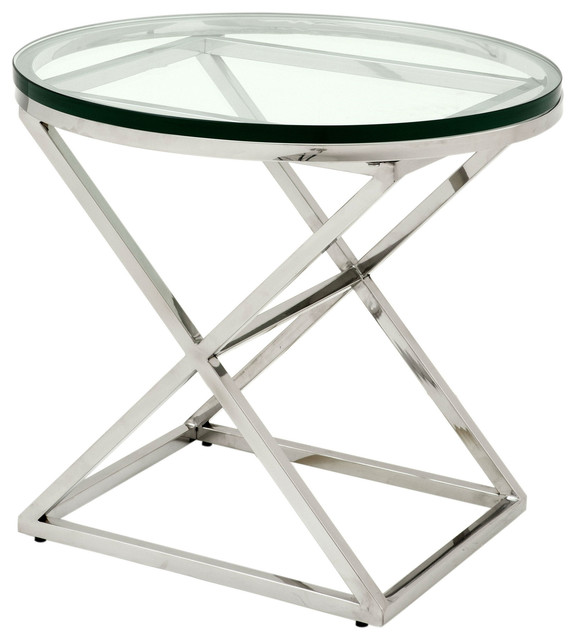 Side table conrad polished steel and glass contemporary side tables