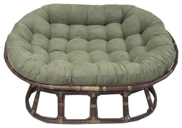 Cushion for oversize double papasan saddle brown for Double papasan chair cushion