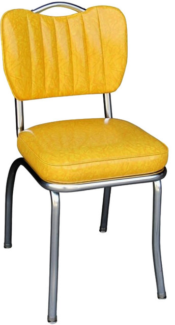 handle back retro kitchen chair cracked yellow