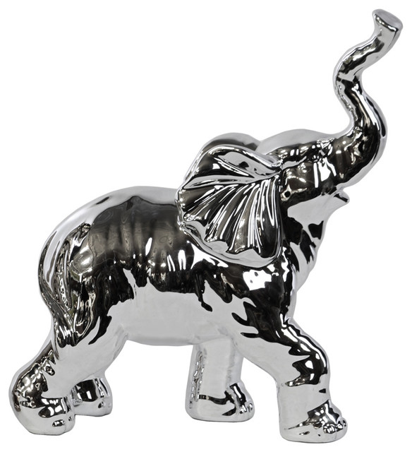 Porcelain Walking Trumpeting Elephant Figurine Transitional Decorative Objects And Figurines: silver elephant home decor
