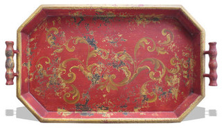 Accessory Tray Hexagon, Red Baroque - Traditional - Serving Trays ...