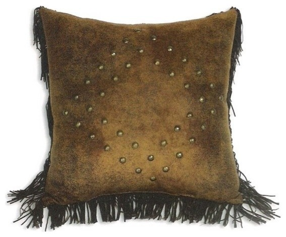 Decorative Throw Pillows With Fringe : Mustang Suede Studs & Fringe 18