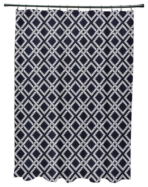 71x74 Rope Rigging Geometric Print Shower Curtain Navy Blue Contemporary Shower Curtains