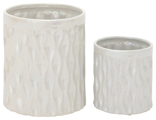 Glossy ceramic kitchen utensil holder set of 2 traditional decorative bowls by benzara - Unique kitchen utensil holder ...