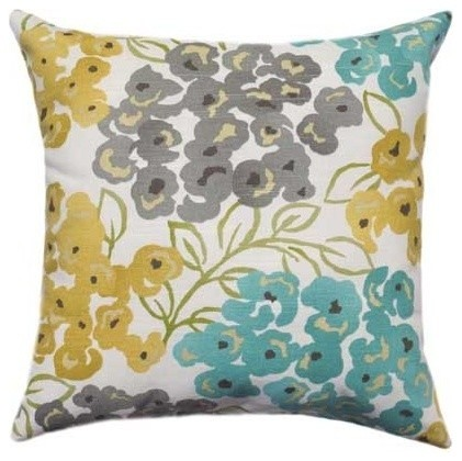 Pool Blue Throw Pillows : Luxury Floral, Pool Yellow, Grey, Blue Pillow - Transitional - Decorative Pillows