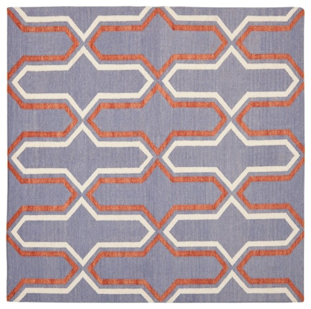 Contemporary dhurries square 6 39 square purple multi area for Purple area rugs contemporary