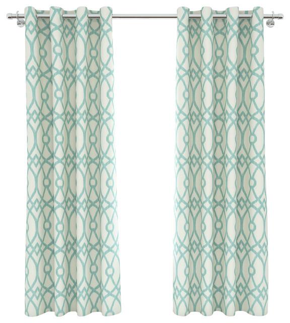 Piper Grommet Panel Pair, 54x84, Aqua Beach-style-curtains