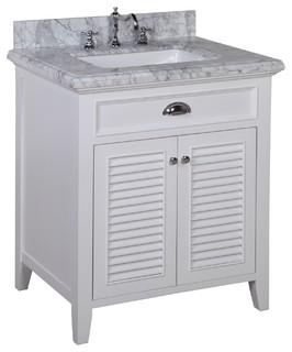 savannah 30 bath vanity carrara white kolonialstil. Black Bedroom Furniture Sets. Home Design Ideas