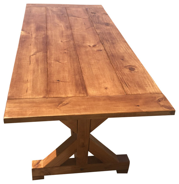 Warm Trestle Style Farm Table Farmhouse Outdoor Dining Tables By On Point Wood