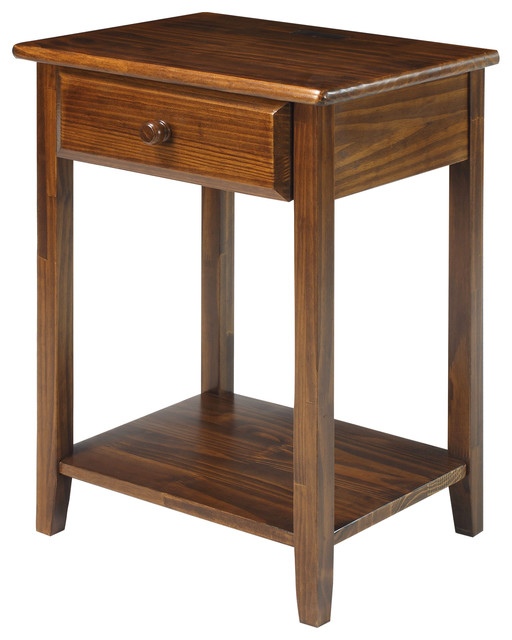 Night Owl Night Stand With 4 Usb Ports, Warm Brown - Transitional - Nightstands And Bedside ...