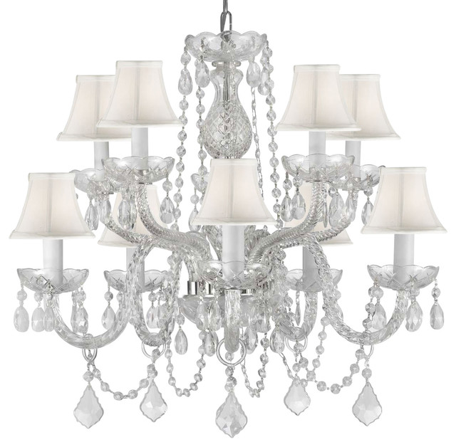 Crystal Chandelier With White Shades H 25xw 24 Traditional Chandeliers