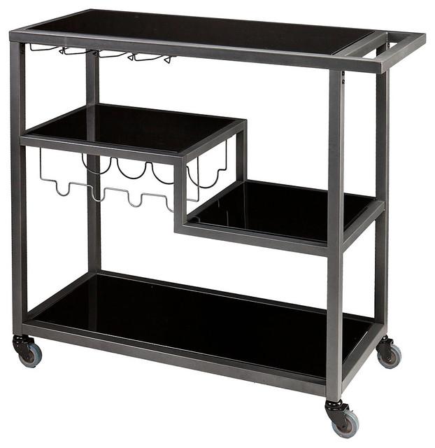 Dontos Industrial Kitchen Cart Southern Enterprises: Zephs Bar Cart Grey & Black
