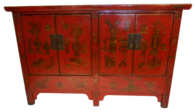 Five Legged Oriental Red Lacquer Cabinet Hand Painted