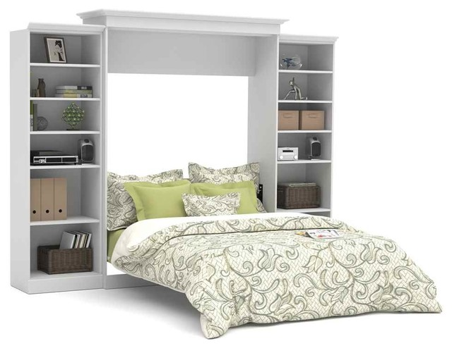 Wall Bed With Storage, White, Queen - Contemporary - Murphy Beds - by ShopLadder