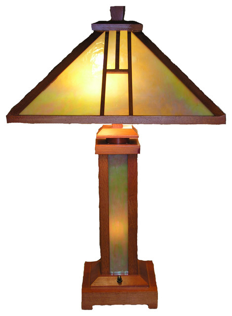 tiffany style mission lamp with illuminated base. Black Bedroom Furniture Sets. Home Design Ideas