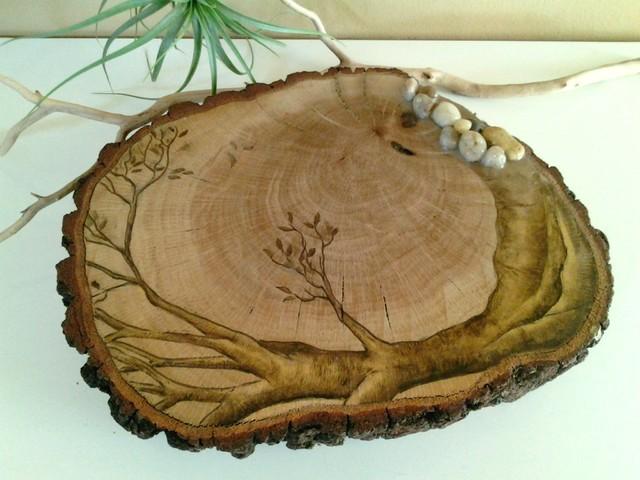 Tree Of Life Original Artwork On Tree Trunk Slice