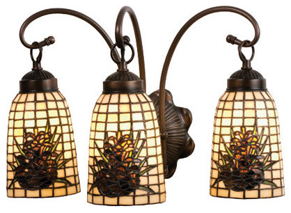 Stained Glass Vanity Light Fixtures : Meyda Tiffany 18785 Stained Glass / Tiffany 3 Light 18