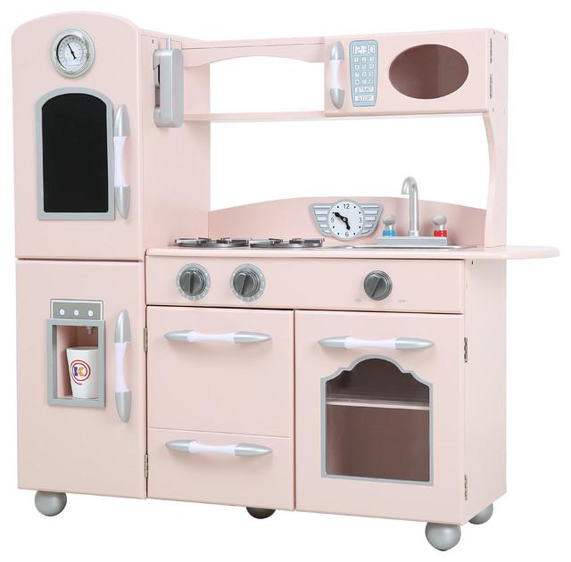Teamson kids 1 piece wooden play kitchen set pink for Kitchen set wala game